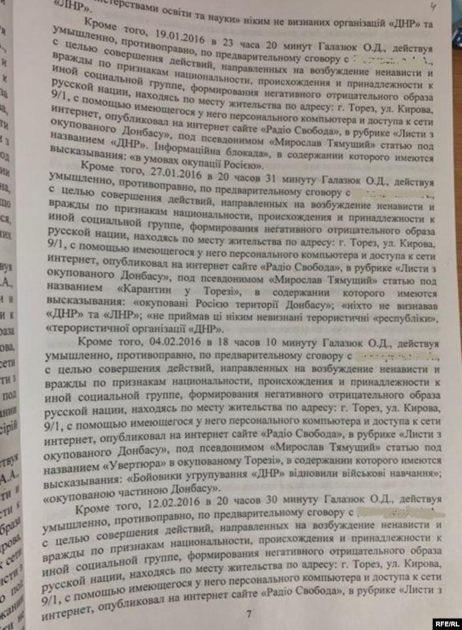 Документи щодо Олега Галазюка
