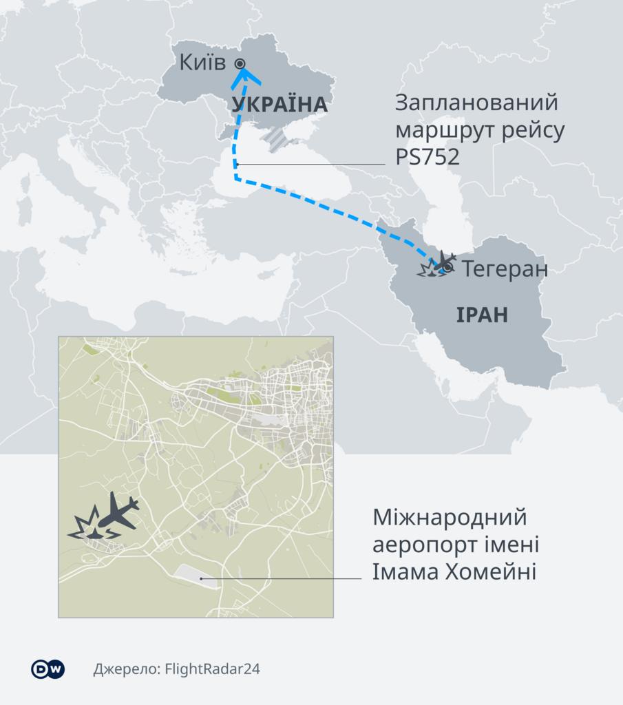 Карта движения украинского Boeing 737