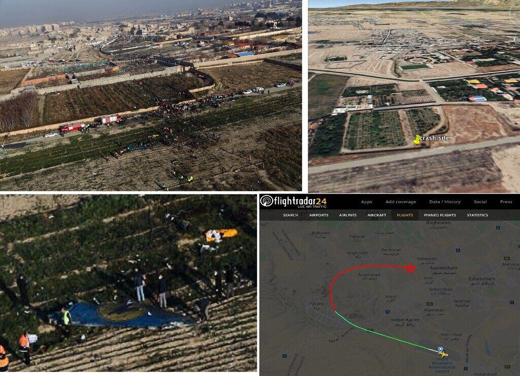 Місце авіакатастрофи в Ірані