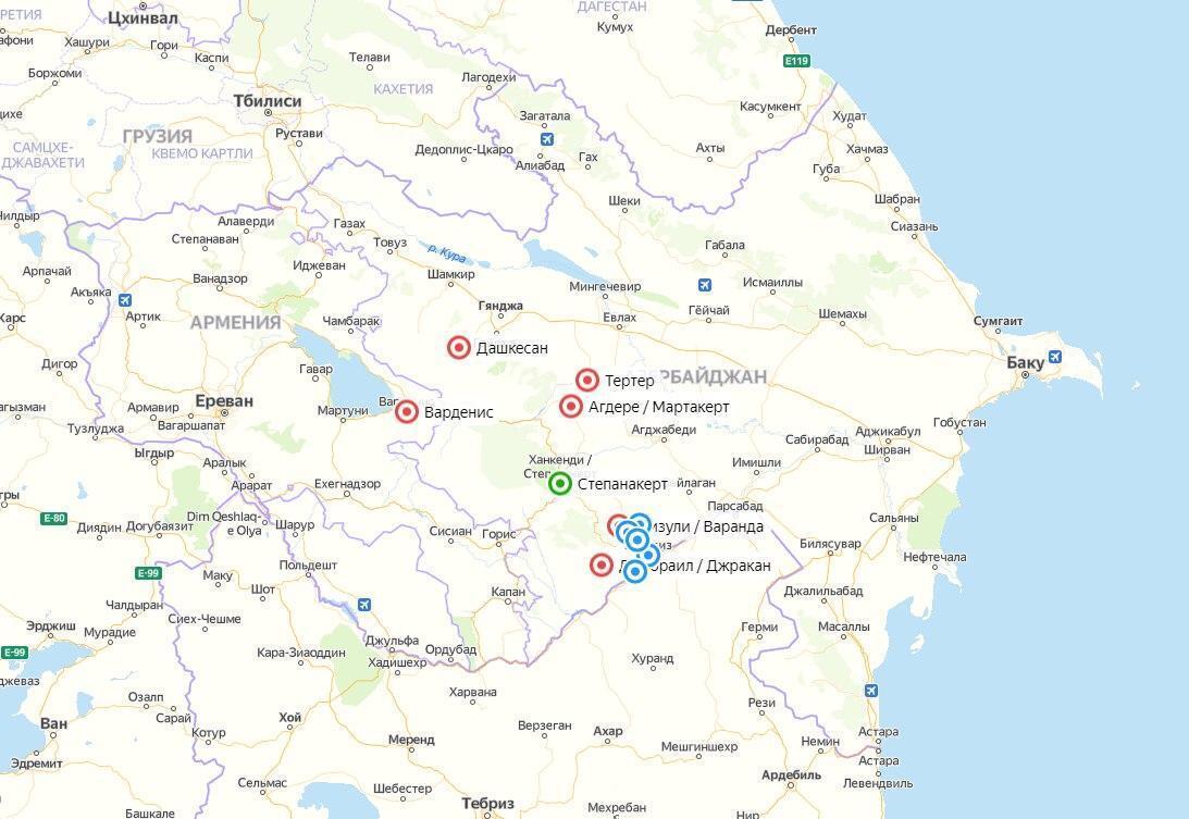 Карта населенных пунктов, которые военные Азербайджана заняли в Карабахе.