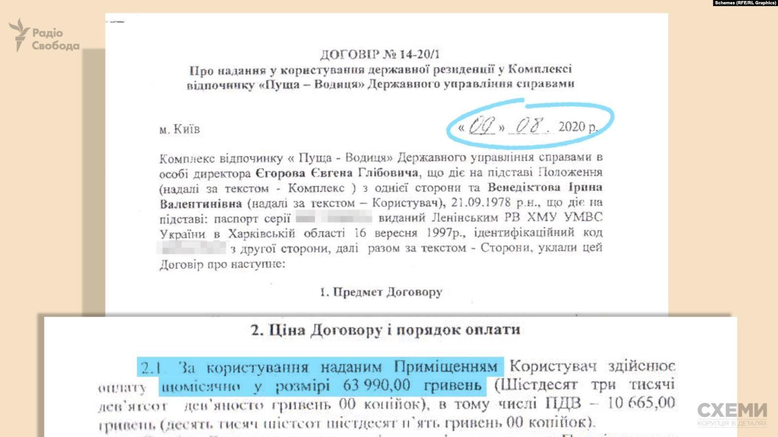Договор об аренде Венедиктовой госрезиденции.