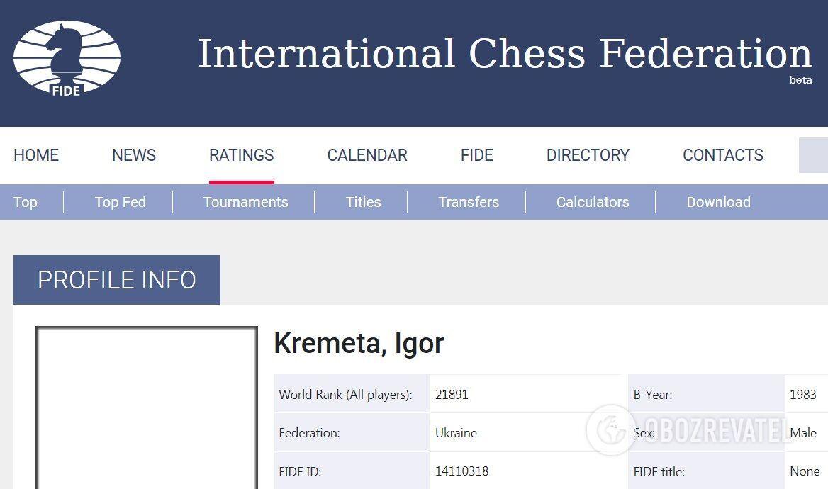 Игорь Кремета на сайте Международной шахматной федерации (FIDE).