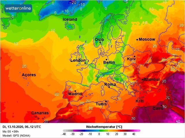 Карта погоди в Україні на фоні інших країн Європи