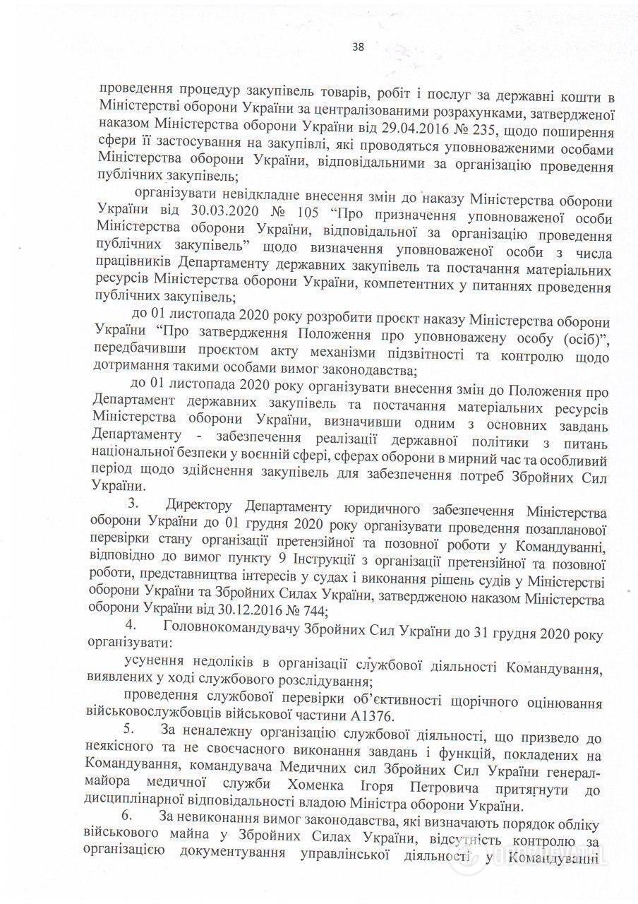 Копия Акта служебного расследования комиссии Министерства обороны