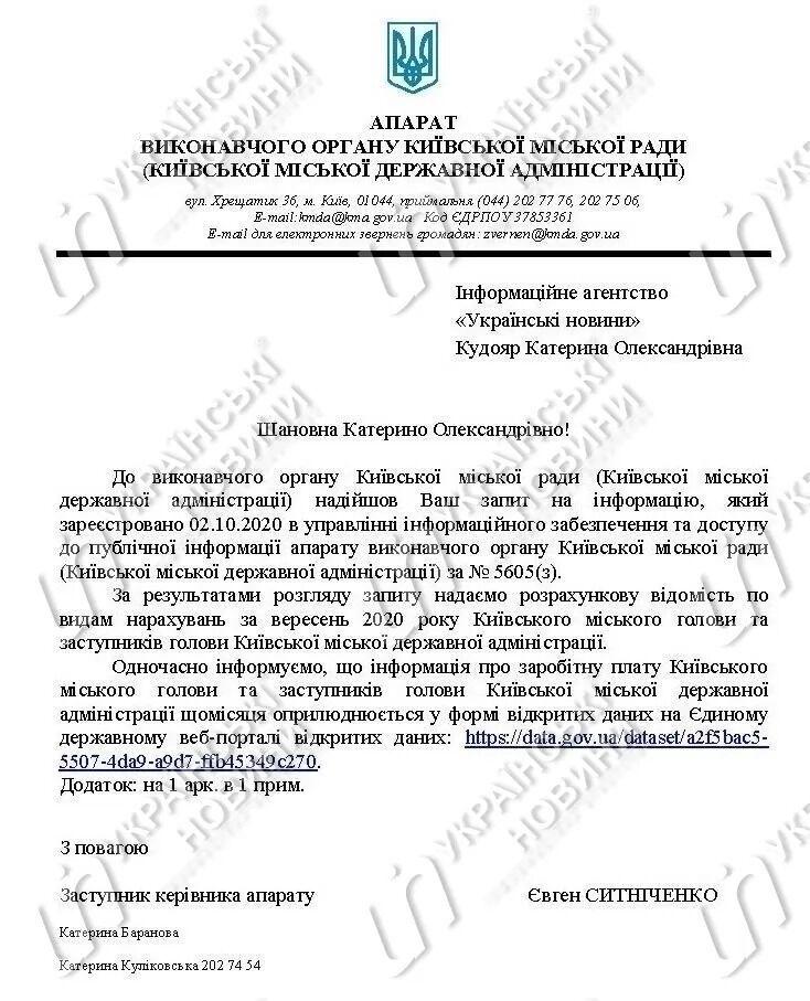 Надбавок і премій у вересні Кличко не отримував
