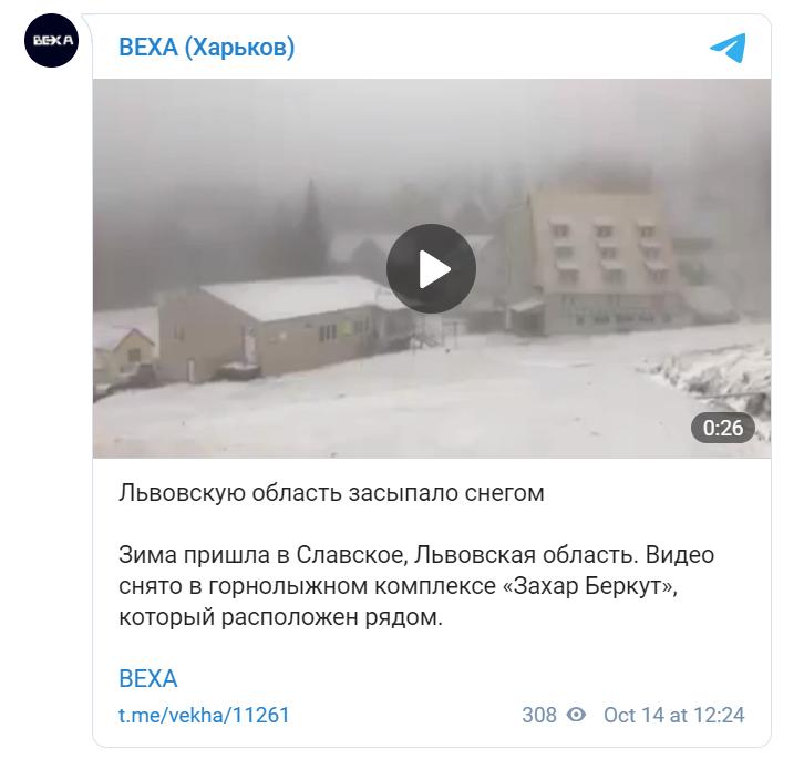 В Украине пошел снег.