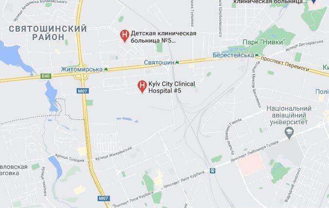 """Київська лікарня №5 розташована недалеко від станції метро """"Святошин""""."""