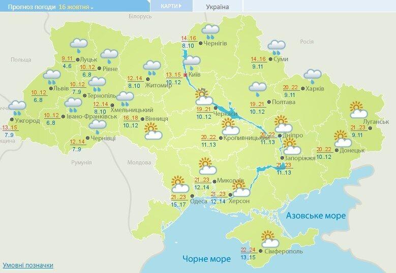 Прогноз погоди на 16 жовтня.