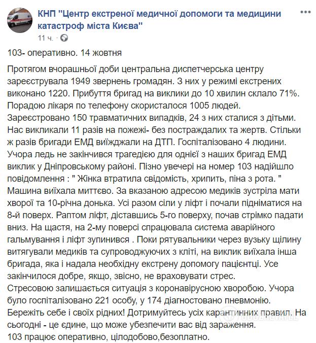 У Києві обірвався ліфт із медиками й 10-річною дівчинкою
