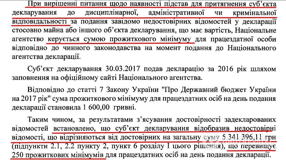 Вывод из решения НАПК по результатам полной проверки декларации депутата Таруты