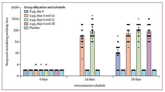 Найбільшу відповідь антитіл було отримано, коли учасникам давали дві дози вакцини по 4 мг із інтервалом 21 або 28 днів (зелені і фіолетові смуги)