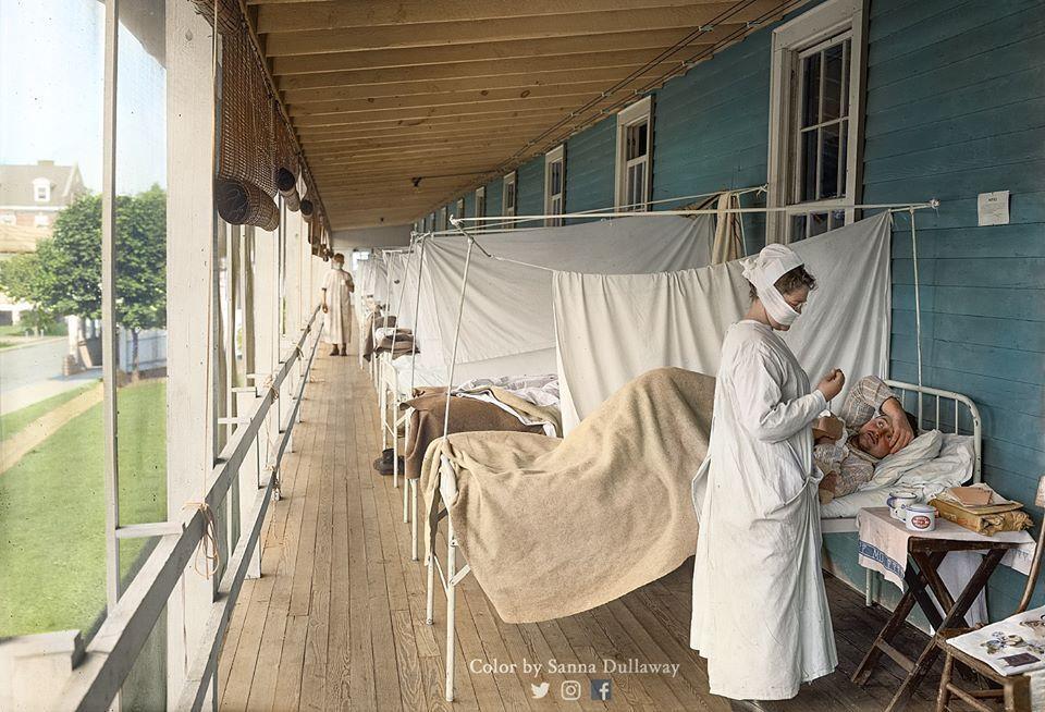 Отделение зараженных в больнице Уолтера Рида в Вашингтоне, округ Колумбия (США), 1918 год