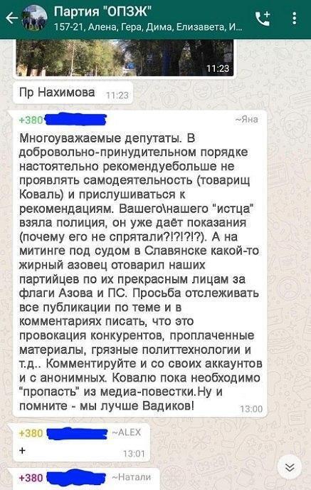 Сообщение вероятно с внутрипартийного чата, где говорится о том, что иски к кандидатам от ОПЗЖ инициировали сами партийцы