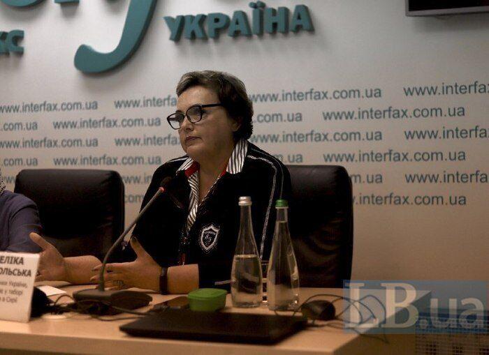 Анжелика Добровольская на пресс-конференции.