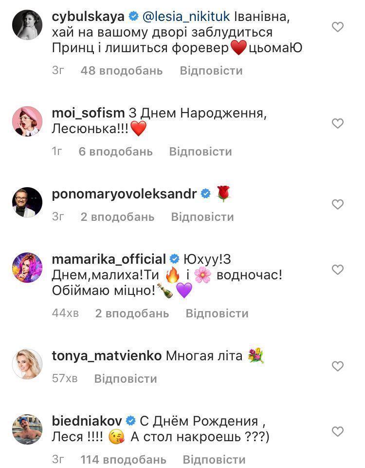 Оля Цибульская, Соня Плакидюк, Александр Пономарев, MamaRika, Тоня Матвиенко и Андрей Бедняков поздравили Никитюк с днем рождения.