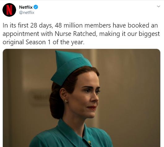 """Серіал """"Сестра Ретчед"""" став найпопулярнішим на Netflix."""