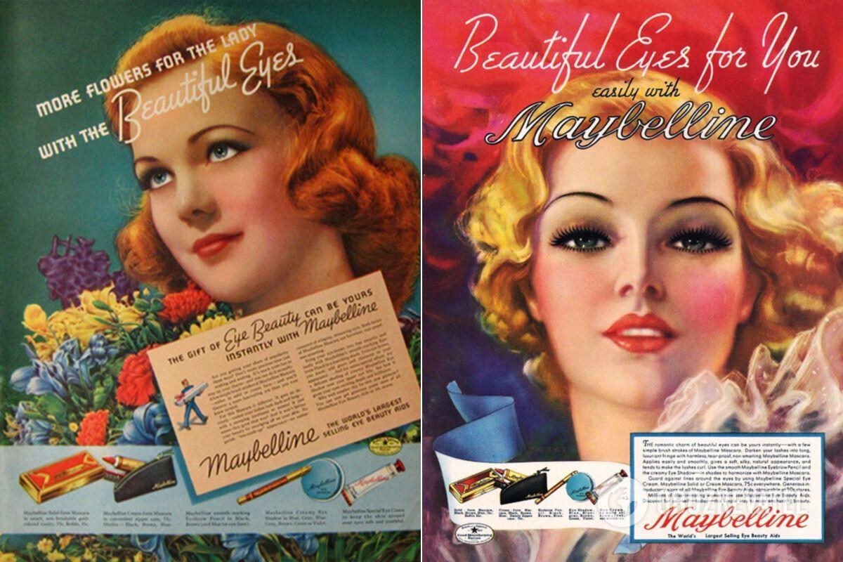 Реклама продукції Maybelline у 1930-х роках