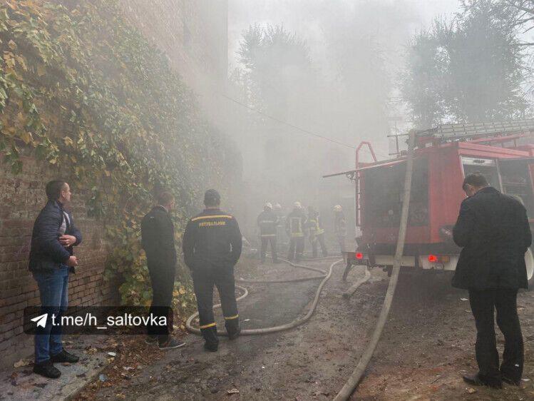Пожар после взрыва в Харькове