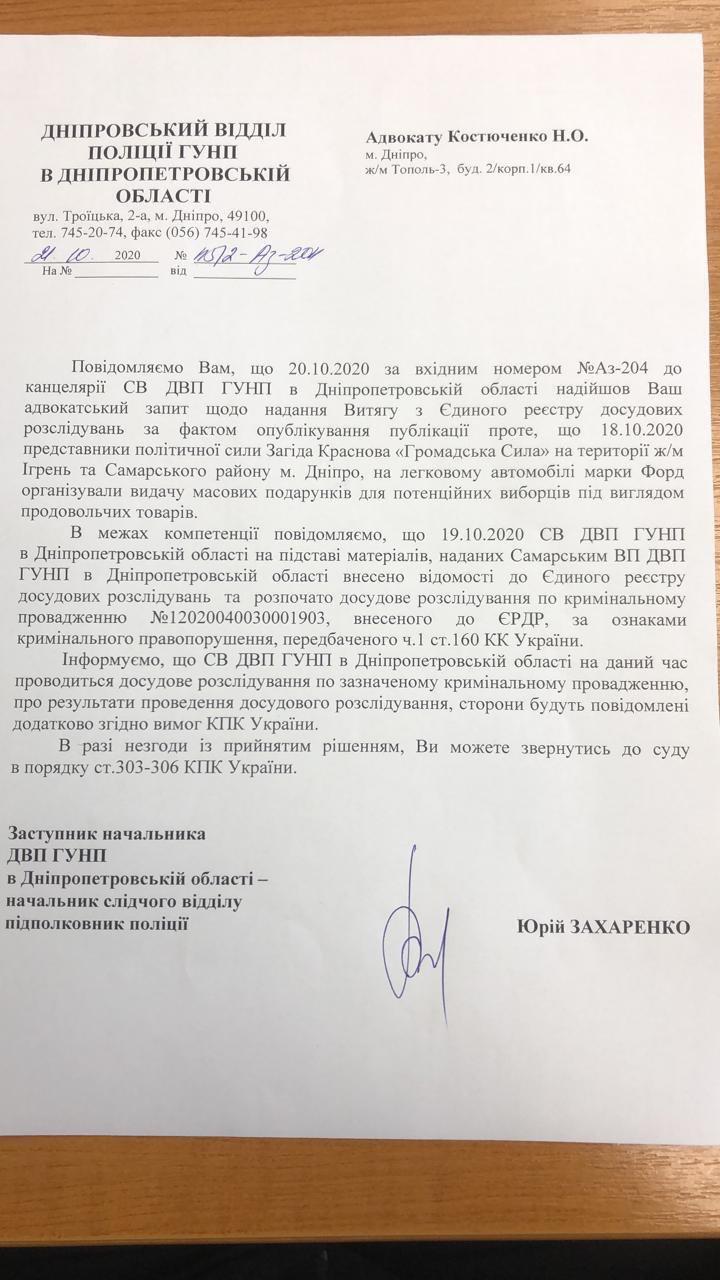 На кандидата в мери Дніпра Краснова відкрили кримінальне провадження через підкуп виборців
