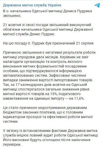 Telegram Государственной таможенной службы.