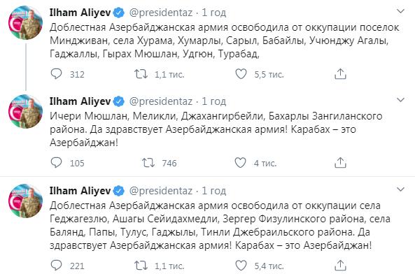 Повідомлення Ільхама Алієва у Twitter
