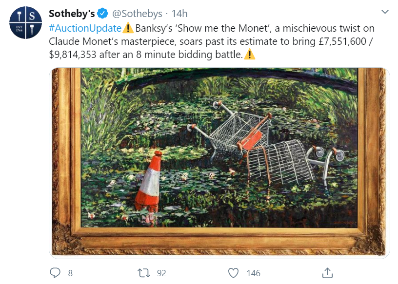 """Картину Бенксі """"Покажи мені Моне"""" продали на аукціоні майже за $10 млн"""