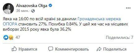 """""""Опора"""" заявила про низьку явку на місцевих виборах в Україні"""