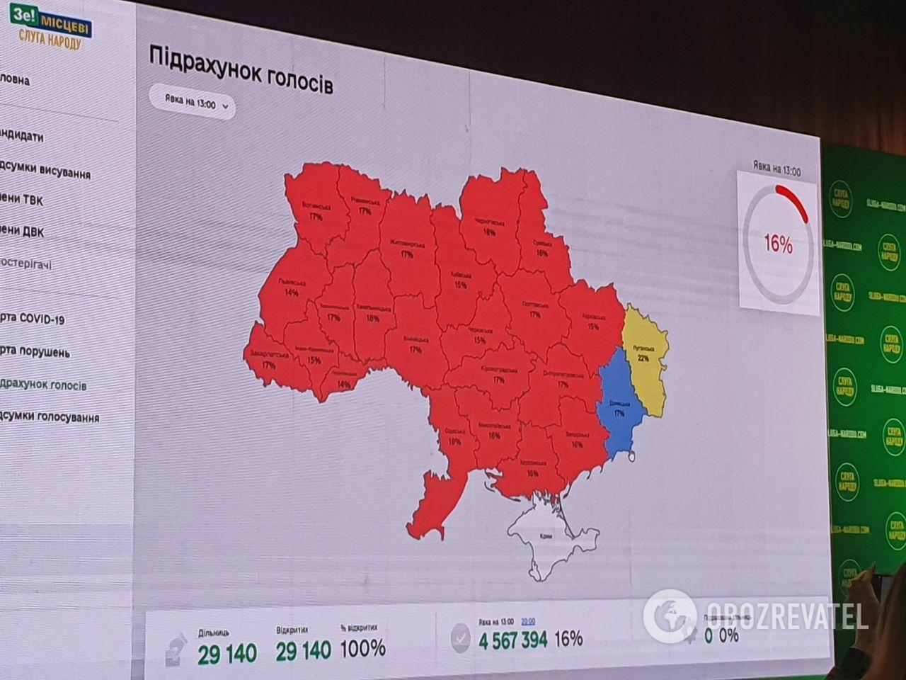 Явка на виборах в Україні на 13:00.