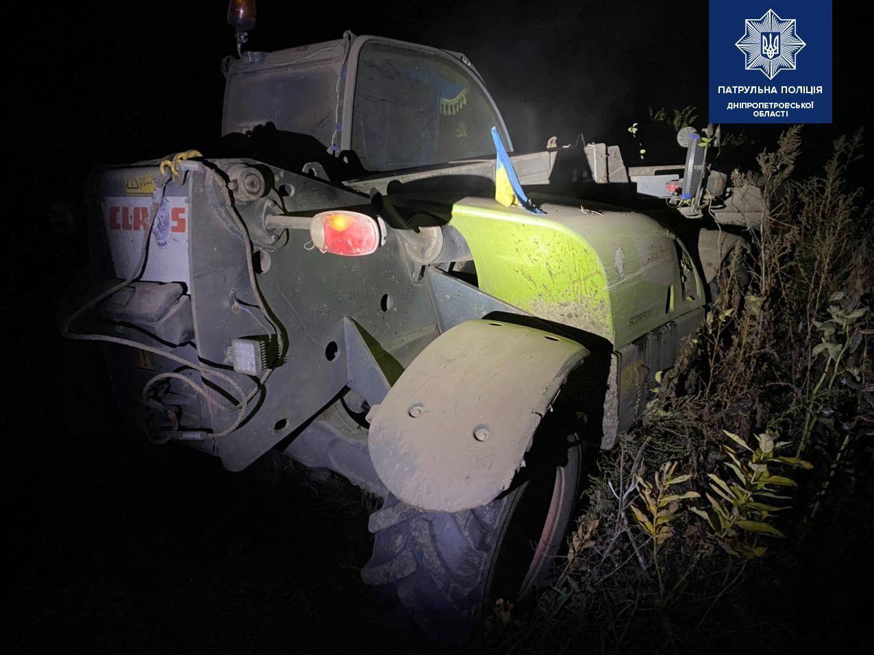 На Днепропетровщине водитель погрузчика устроил гонки в полицейскими .
