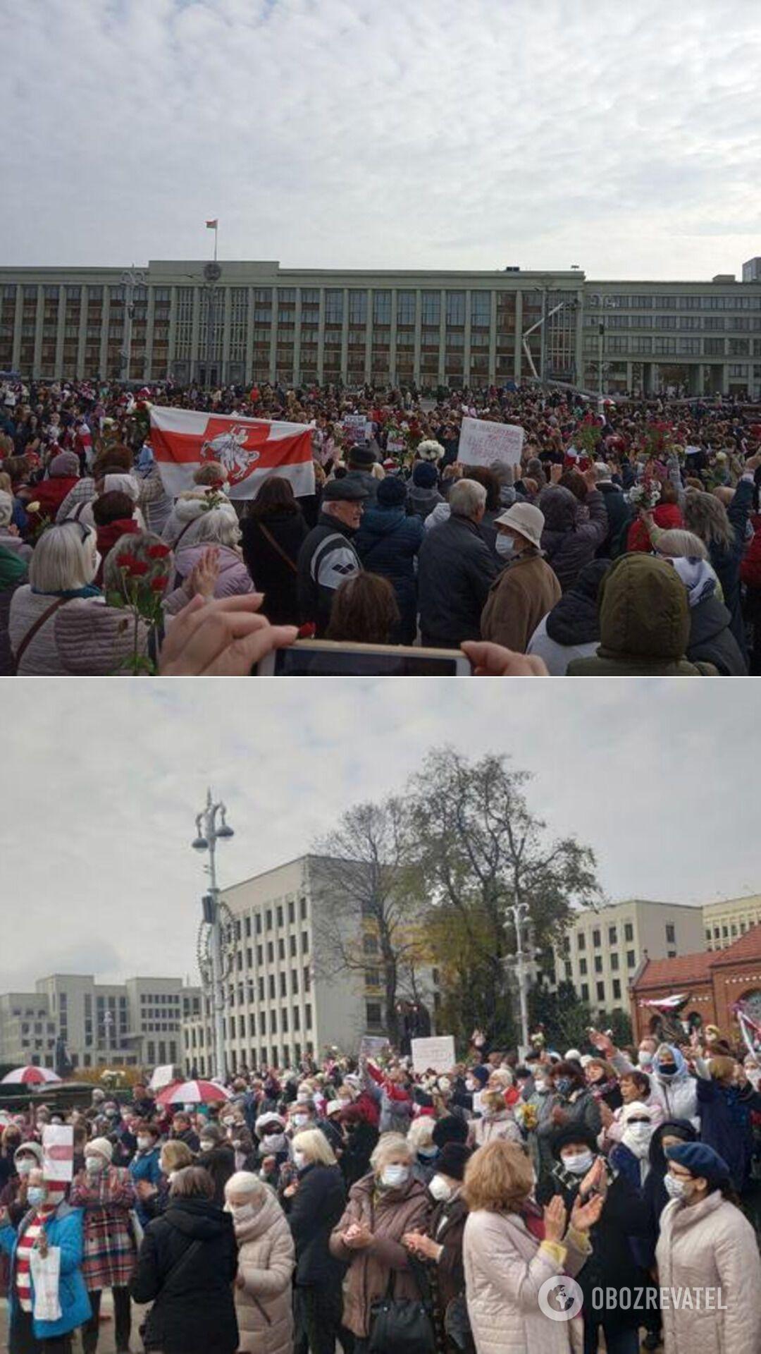 Марш пенсионеров у Красного костела в Минске