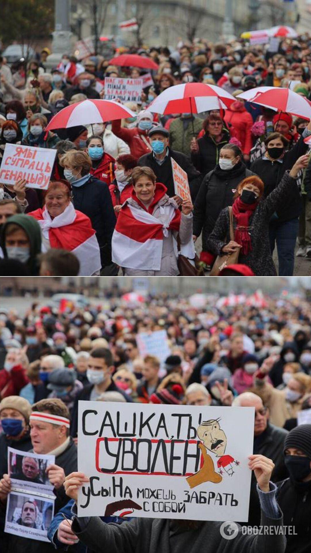 Марш пенсионеров и студентов на проспекте Независимости