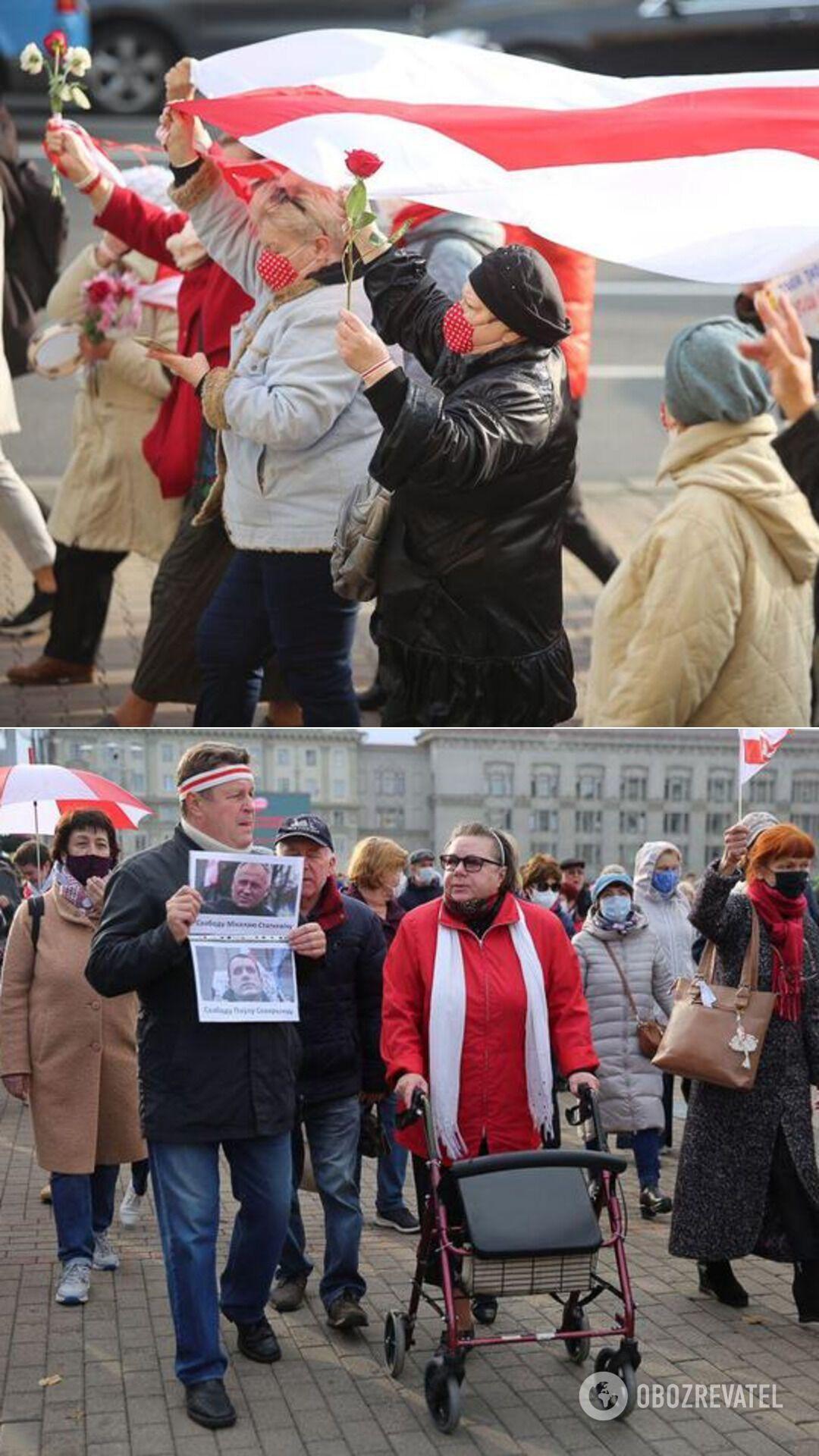 Марш пенсионеров и студентов на проспекте Независимости в Минске