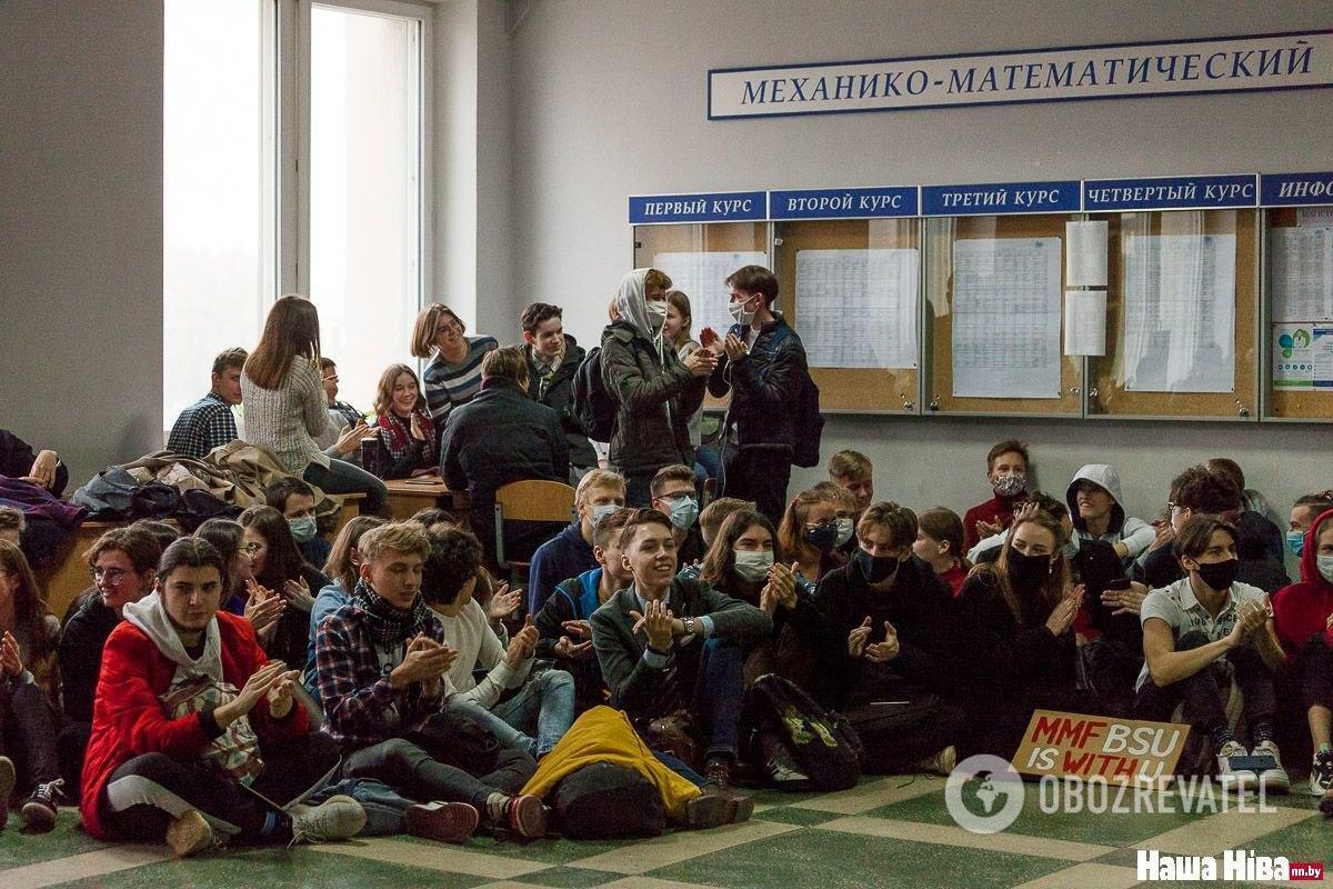 Сидячий протест студентов БГУ