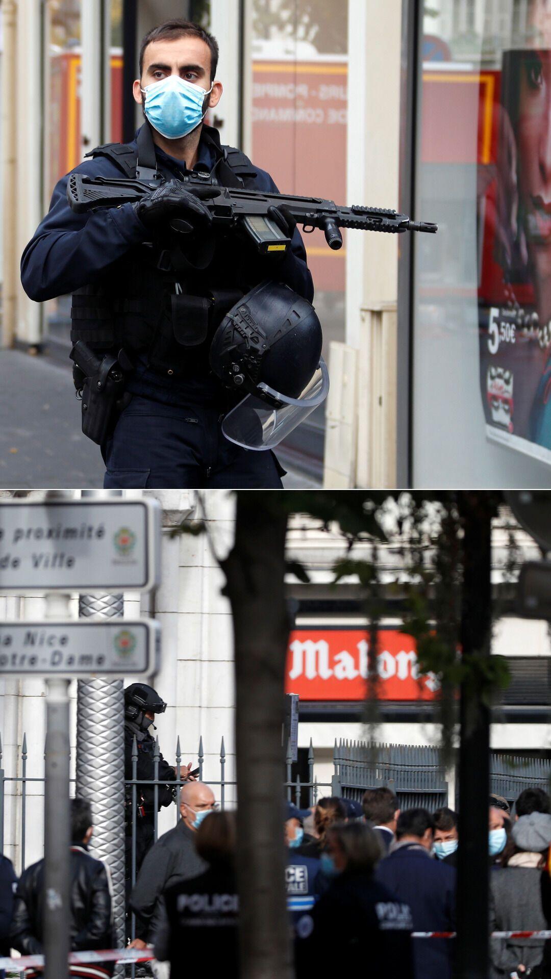 Французские полицейские после теракта в Ницце