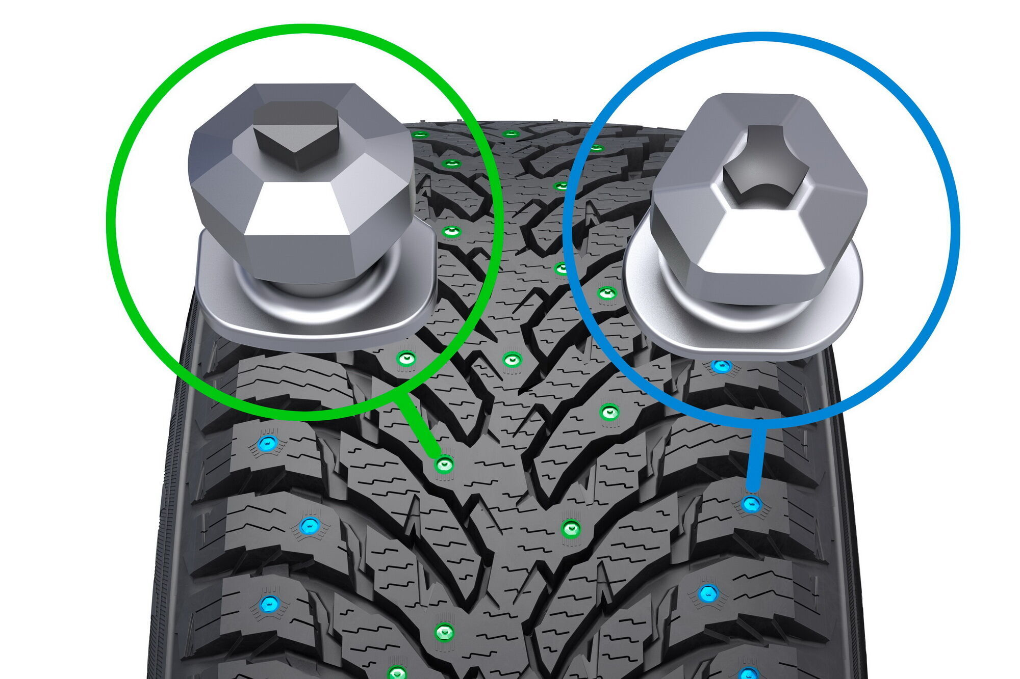 Обратите внимание на разную форму шипов, которые отвечают за различные свойства шин Nokian Hakkapeliitta 9 SUV