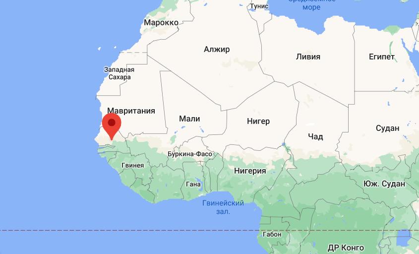 Республіка Сенегал на західному узбережжі Африки.