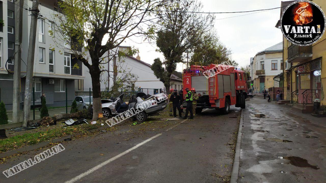 Во Львове авто врезалось в дерево