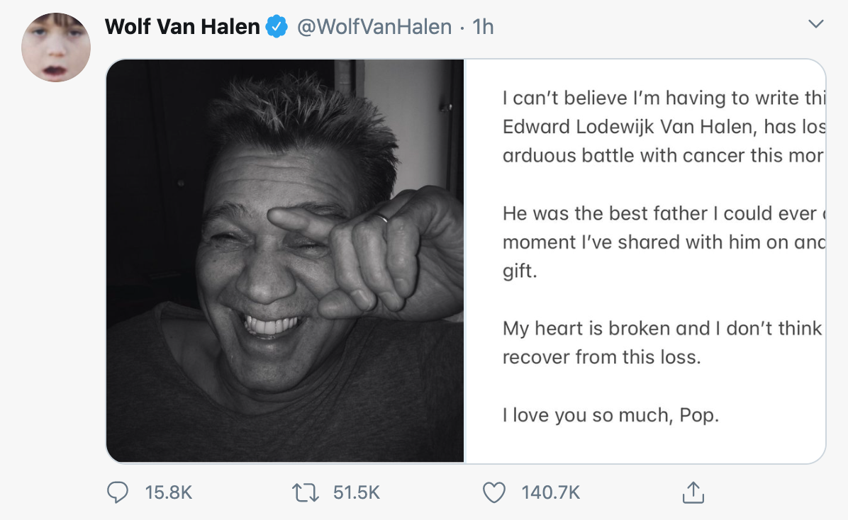 Про смерть знаменитого музиканта повідомив його син.