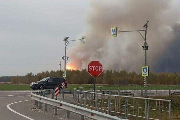 Пожар вдоль дороги