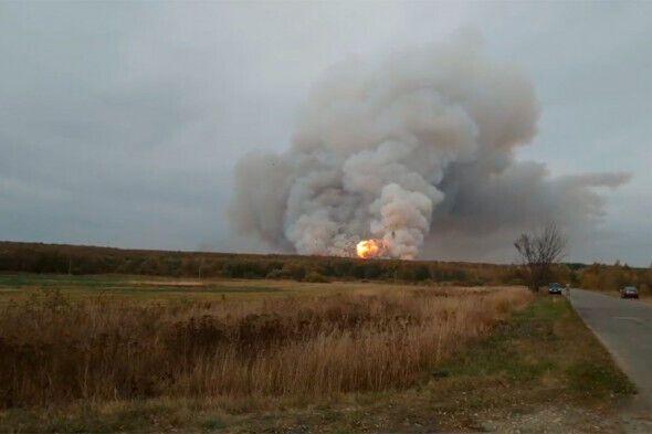 Пожар после взрывов