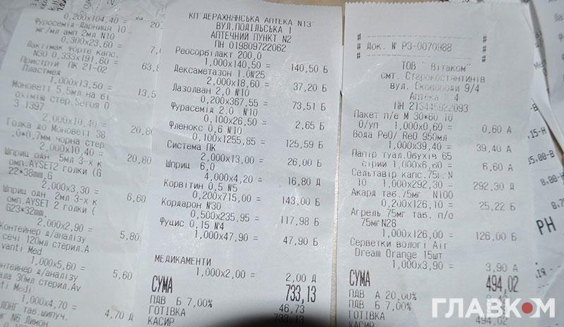 Письменник показав чеки на придбані за свій рахунок ліки.