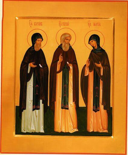 Преподобный Сергий Радонежский и его родители Кирилл Радонежский и Мария Радонежская. Икона