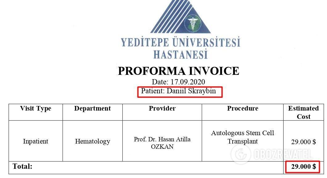 Рахунок із турецької клініки на лікування Данила Скрябіна