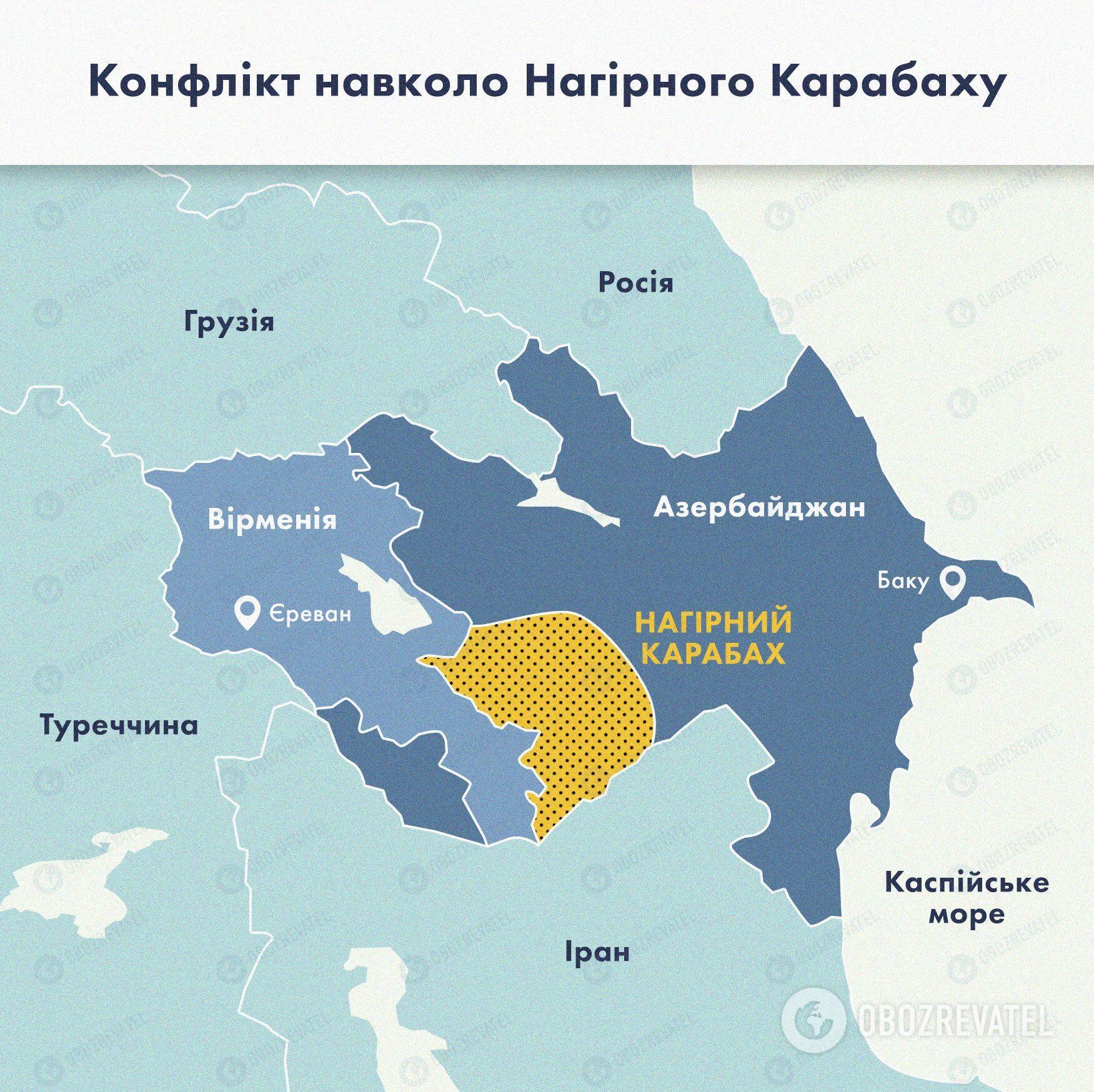 Територія, де розгорнулися бойові дії між Азербайджаном і Вірменією.