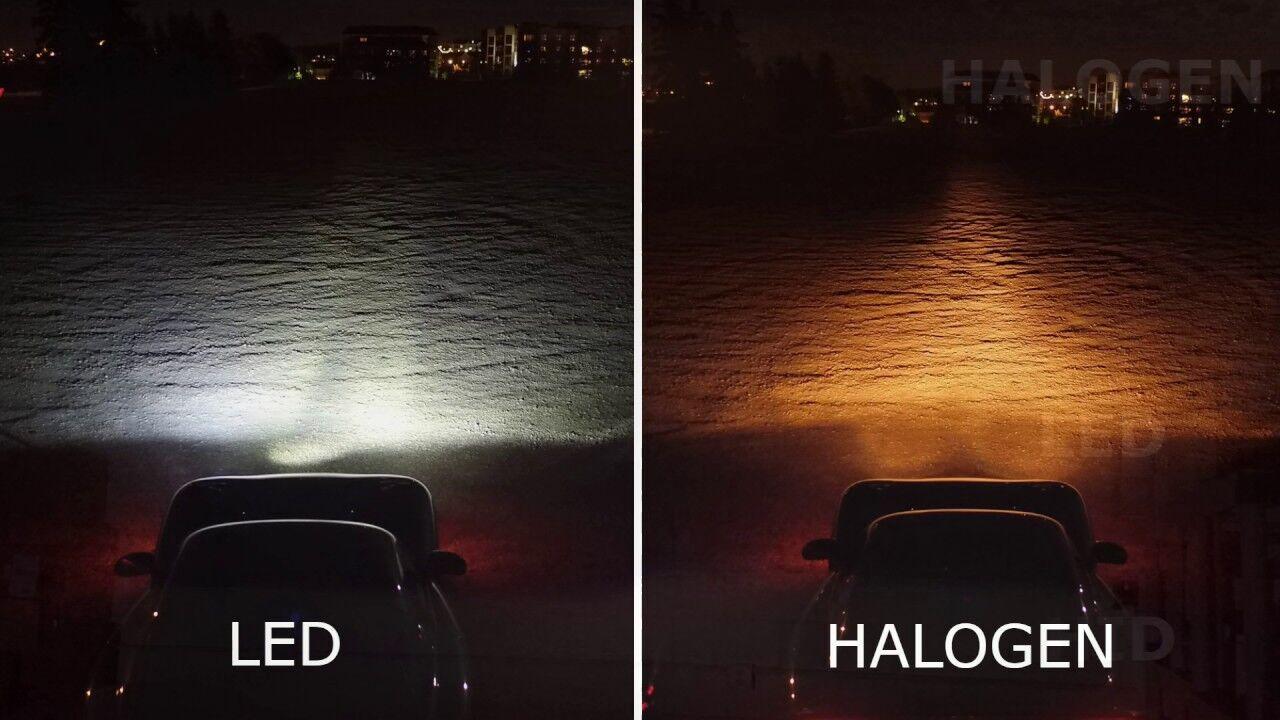 Наочна різниця в освітленні: зліва - світлодіоди, праворуч - галогенки