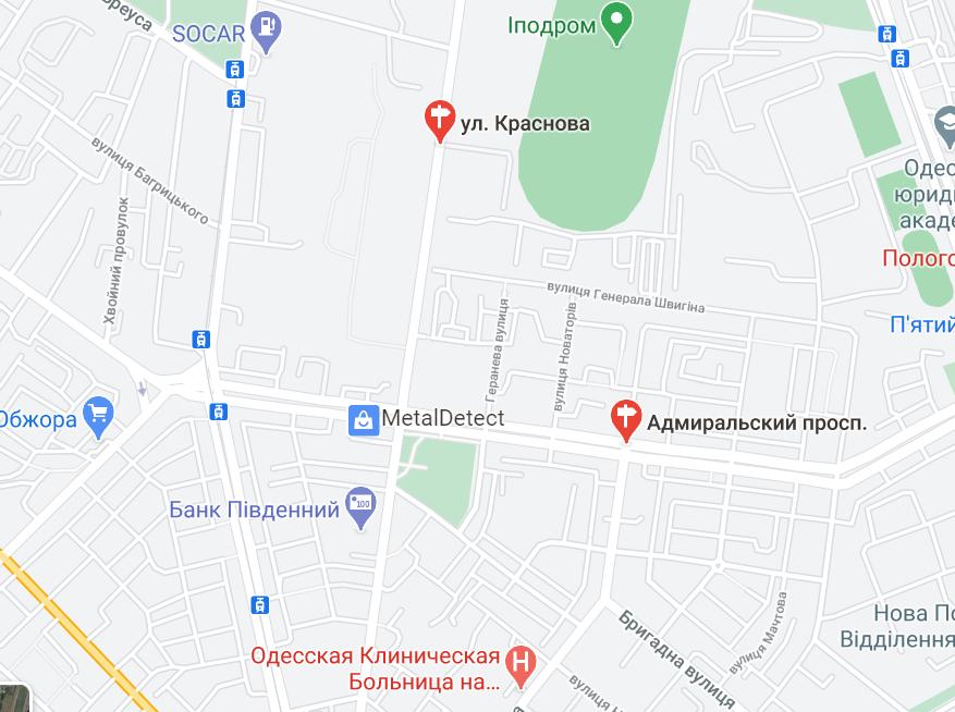 Кут Адміральського проспекту й вулиці Краснова.