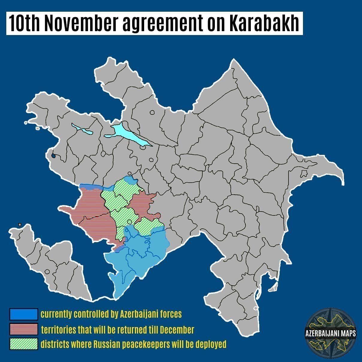 Карта реалізації угоди про припинення бойових дій у Нагірному Карабасі. Синім виділено території, які зараз перебувають під контролем Збройних сил Азербайджану. Червоним – перейдуть Азербайджану до кінця року. Зеленим – території, де будуть розміщені російські військові