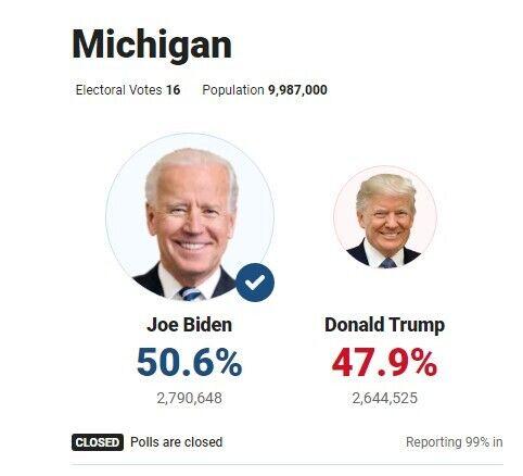 Результаты выборов в Мичигане