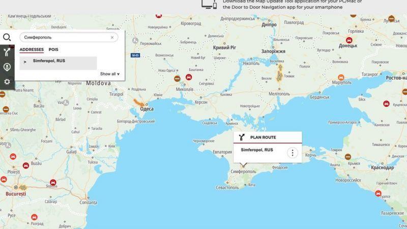 Для користувачів з російським IP на картах Nissan Крим виглядає як частина РФ.