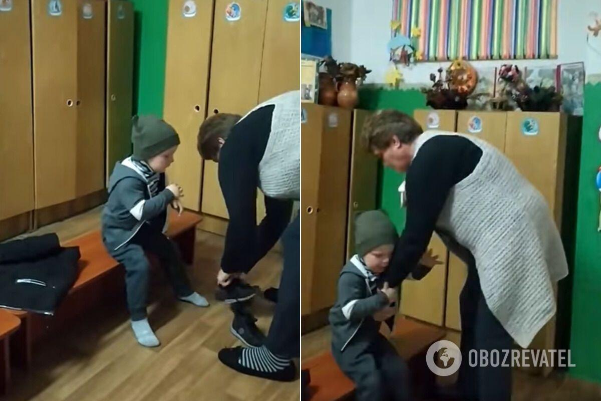 Кадри грубого поводження виховательки з дитиною